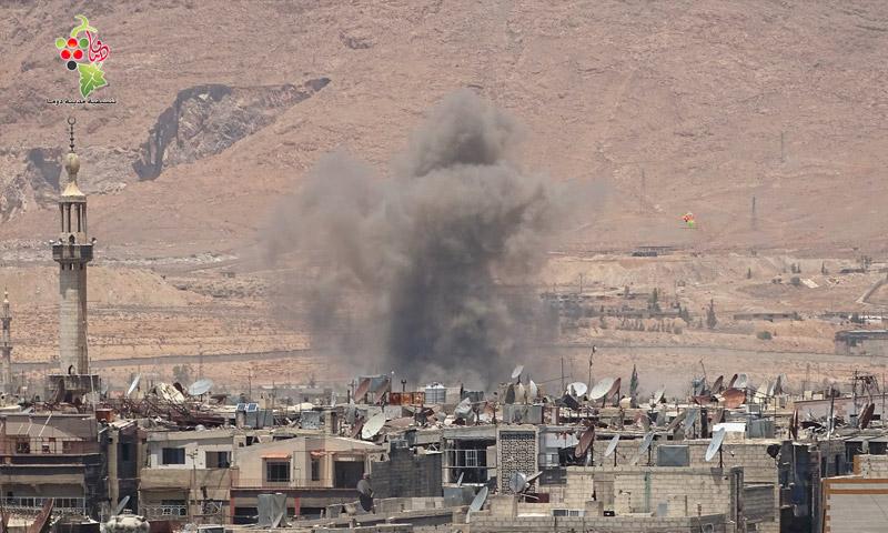 آثار القصف على أطراف دوما في الغوطة الشرقية - الأربعاء 20 تموز (تنسيقية دوما)