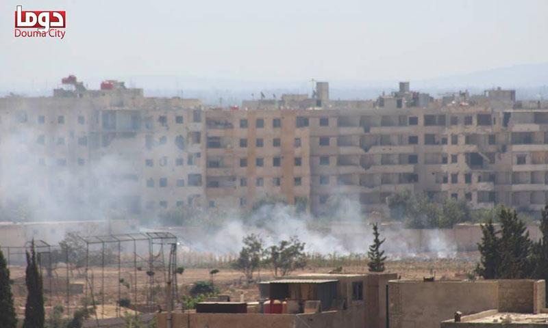 قصف مدفعي وصاروخي على مدينة دوما، الأحد 2 تشرين الأول (تنسيقية دوما)