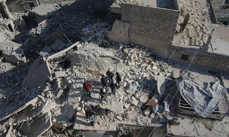 آثار القصف على مدينة حلب من قبل الطيران الروسي_(الدفاع المدني)