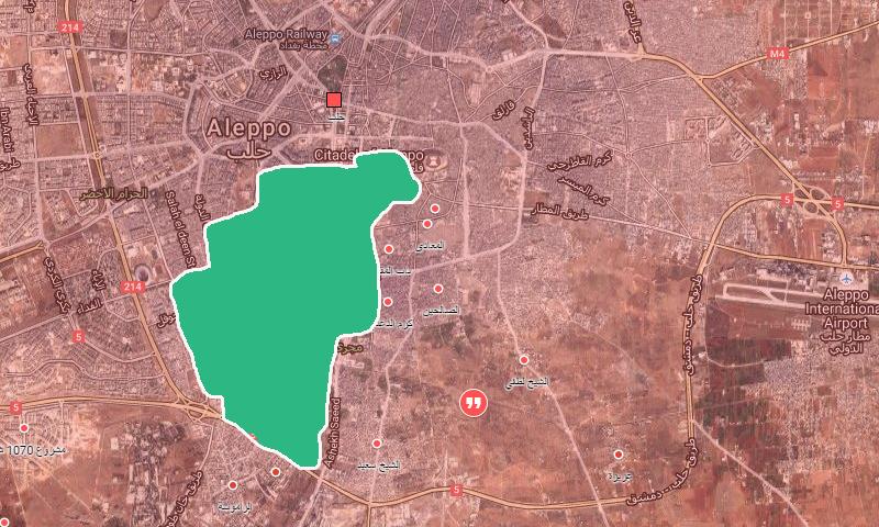 خريطة تظهر مساحة سيطرة المعارضة داخل مدينة حلب - 12 كانون الأول (عنب بلدي)