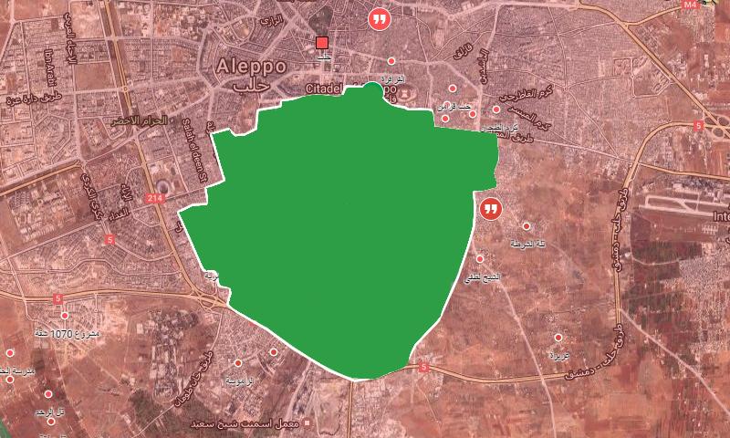 خريطة السيطرة الحالية في حلب (إنترنت)