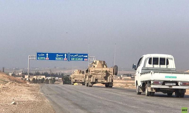 دخول القوات الروسية إلى مدينة منبج بريف حلب الشرقي- 4 آذار 2017-(فيس بوك)
