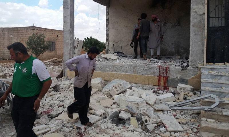 """مقر """"أحرار الشام"""" الذي تعرض لتفجيرين انتحاريين- الأحد 21 أيار (فيس بوك)"""