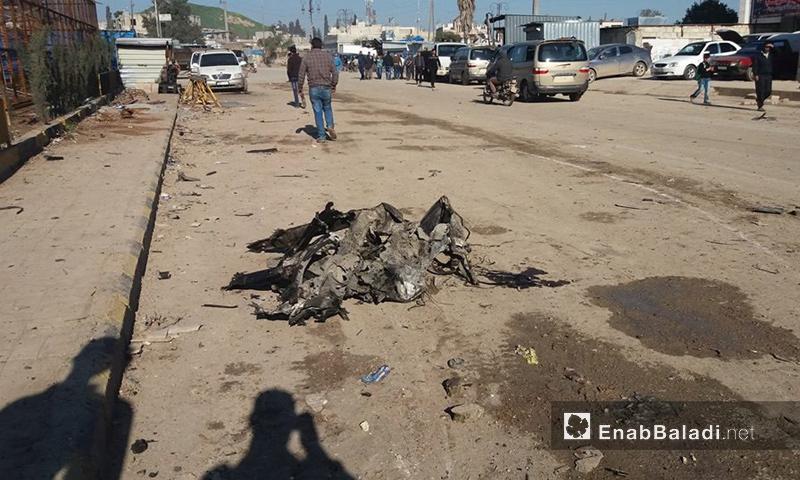 موقع تفجير السيارة في مدينة أعزاز، السبت 25 آذار (عنب بلدي)