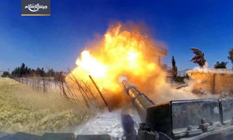"""معارك """"جيش الإسلام"""" ضد قوات الأسد على جبهة الريحان في الغوطة - 29 أيار 2017 (جيش الإسلام)"""