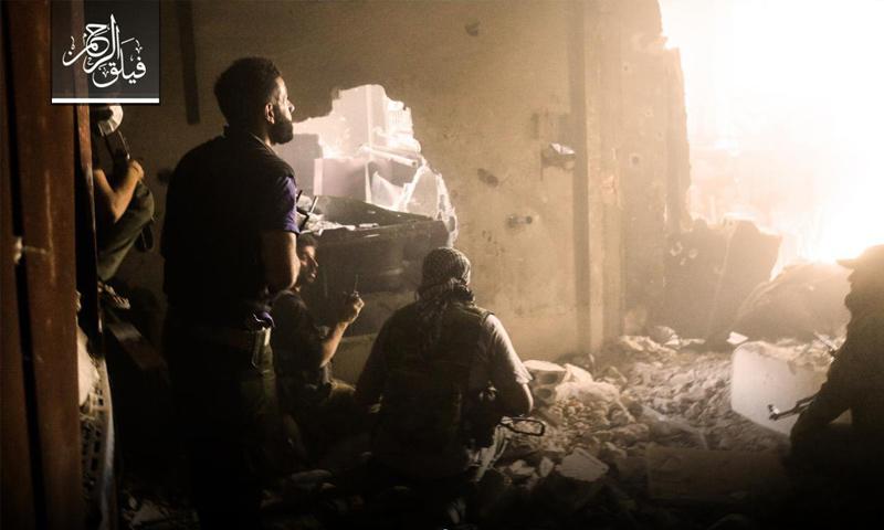 عناصر من فيلق الرحمن على الجبهات العسكرية في حي جوبر الدمشقي - 28 حزيران 2017 - (فيلق الرحمن)