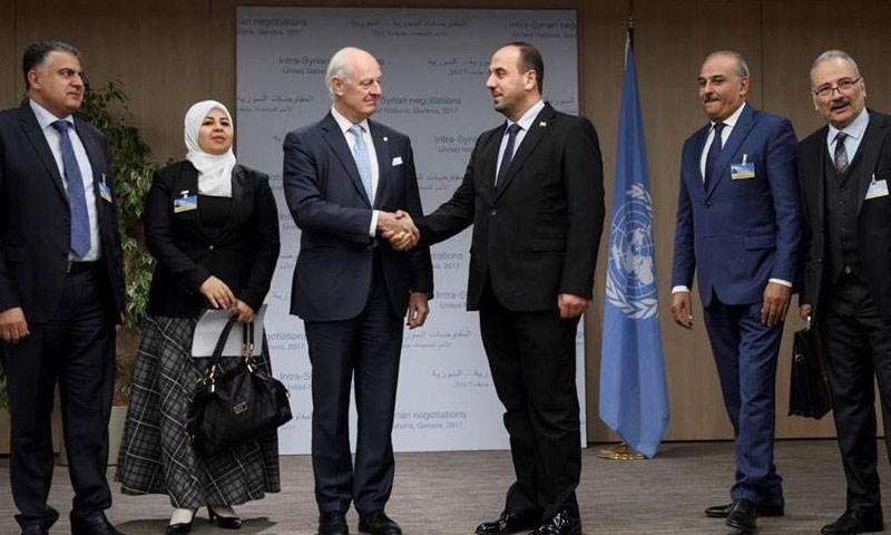 اجتماع ممثلين عن وفد المعارضة في جنيف مع دي ميستورا – 29 تشرين الثاني 2017 (الهيئة العليا للمفاوضات)