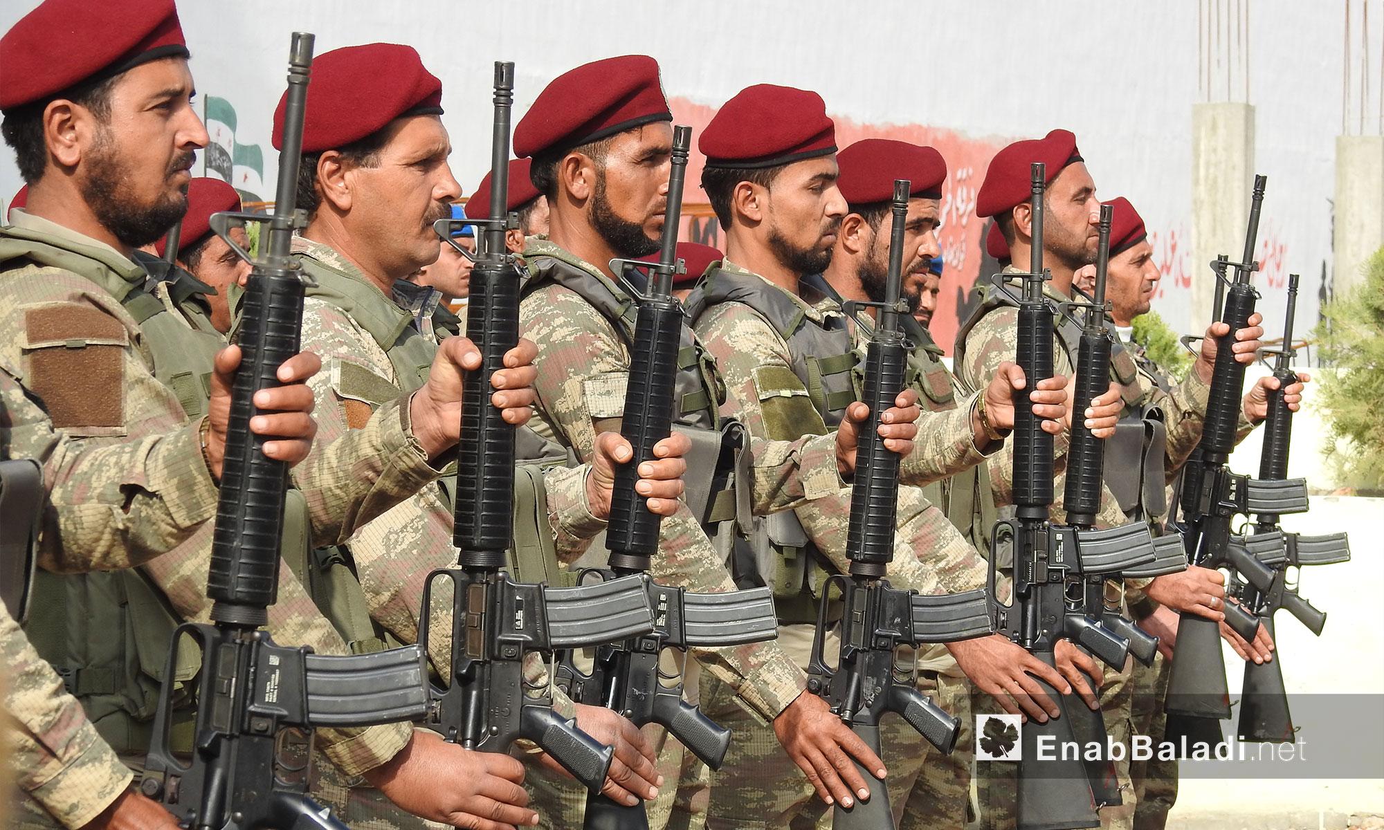 فرقة الحمزة تسلم كليتها العسكرية الى وزارة الدفاع التابعة للحكومة  السورية المؤقتة - ريف حلب الشمالي - 1 تشرين الثاني 2017 (عنب بلدي)