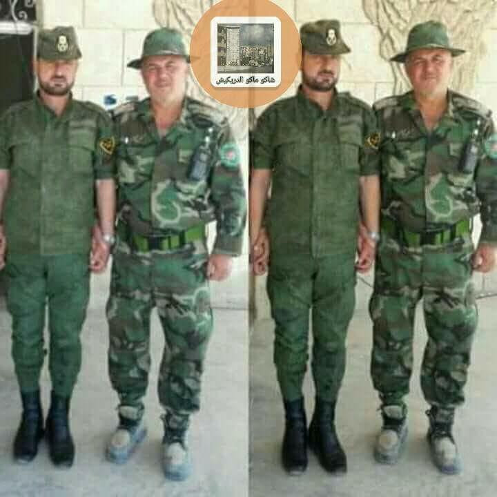 """العقيد في قوات الأسد عز الدين ياغي إلى جانب العميد سهيل الحسن الملقب بـ""""النمر"""" - كانون الثاني 2018 (فيس بوك)"""