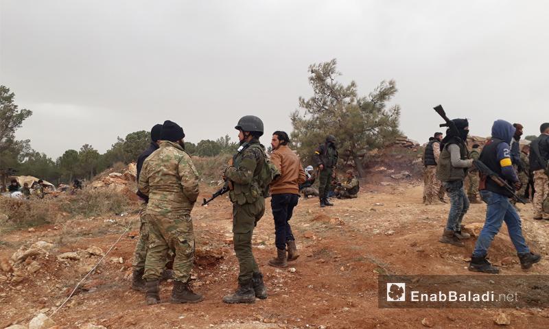 عناصر من الجيش الحر على جبل برصايا بعد السيطرة عليها من يد الوحدات الكردية - 22 كانون الثاني 2018 (عنب بلدي)