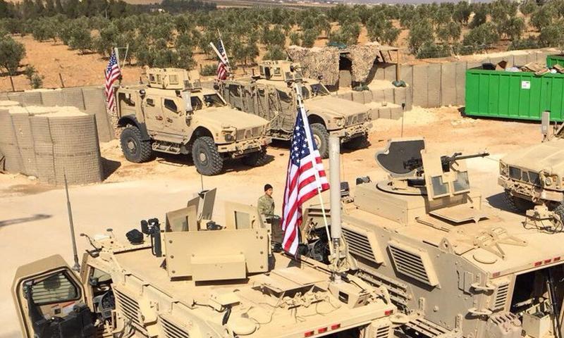 قوات أمريكية في منبج بريف حلب - 7 شباط 2018 (حساب الجنرال في تويتر)