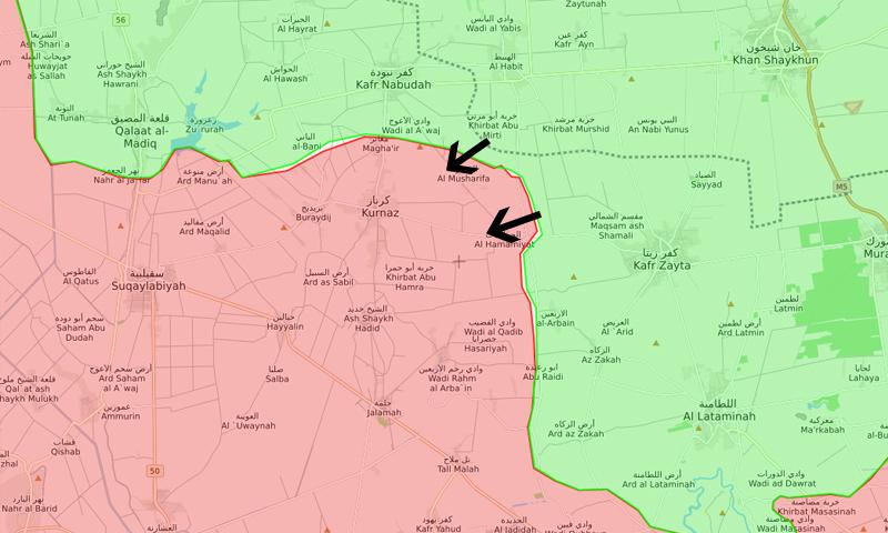 خريطة توضح محور الفصائل العسكرية شمال غربي حماة - 14 آذار 2018 (LM)