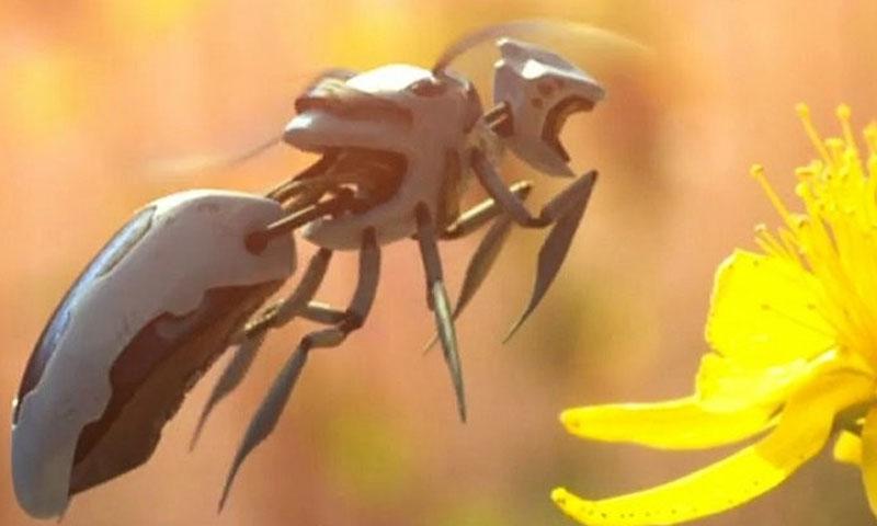 النحل الروبوت قد يعوض عن النحل الطبيعي ريثما يحل العلماء المشكلة الصحية التي تواجهه (Polynoid/Greenpeace/Vimeo)