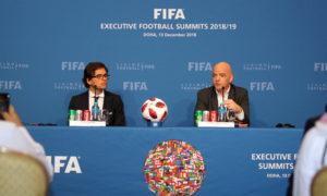 رئيس الاتحاد الدولي لكرة القدم، جياني إنفانتينو، في مؤتمر صحفي في العاصمة القطرية الدوحة- 13 من كانون الثاني 2018 (beinsport)