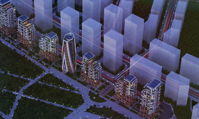 """صورة ثلاثية الأبعاد لمخطط مشروع """"ماروتا سيتي"""" (صفحة المشروع في فيس بوك)"""