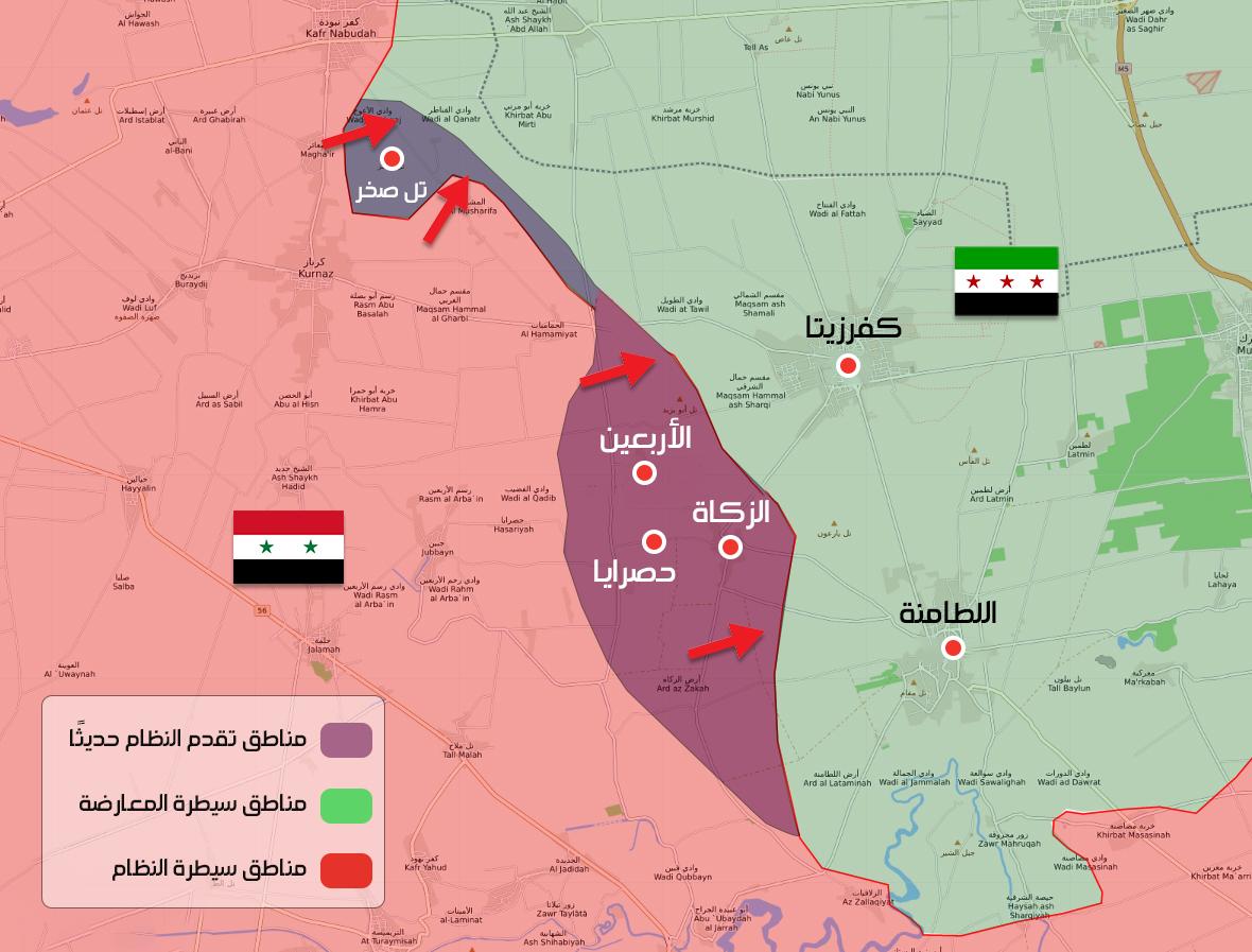 خريطة السيطرة الميدانية بين فصائل المعارضة وقوات النظام السوري في ريف حماة الشمالي 8 آب 2019 (عنب بلدي)