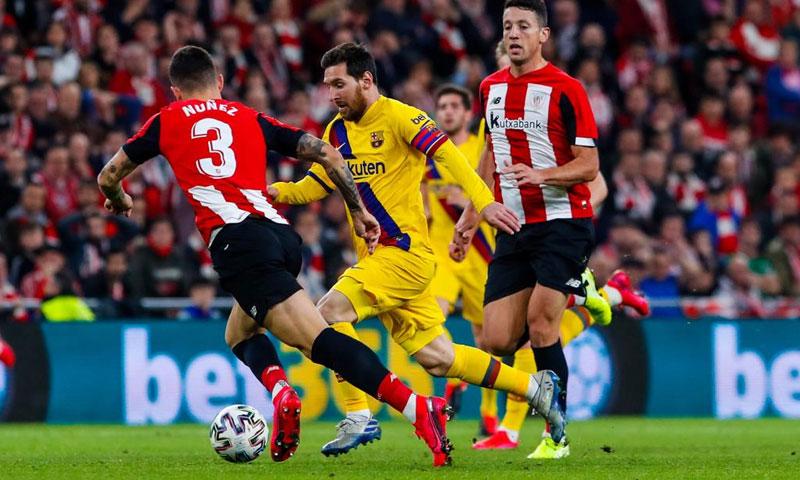 من مباراة برشلونة وأتلتيك بلباو في كأس الملك والتي خسرها برشلونة بهدف لصفر (حساب برشلونة الرسمي في تويتر)