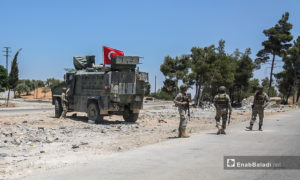 """تسيير الدورية التركية الروسية على طريق """"M4"""" - 14 من تموز 2020 (عنب بلدي / يوسف غريبي)"""