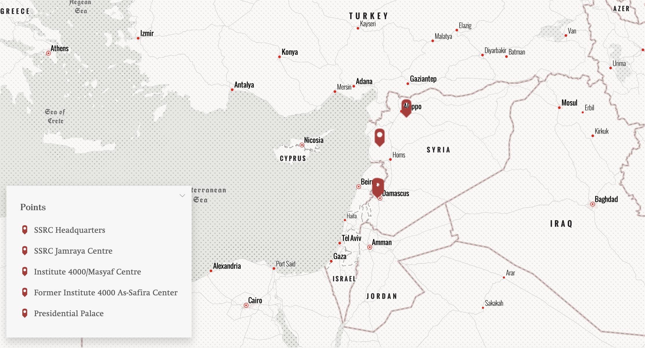 توزع المنشآت التابعة لمركز البحوث في سوريا (الأرشيف السوري)