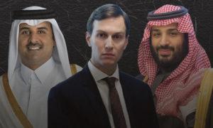 الأمير محمد بن سلمان وجاريد كوشنير مستشار الرئيس الاميريكي والشيخ تميم بن حمد آل ثاني -( تعديل عنب بلدي )