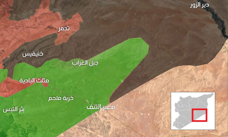 Map of Military control in the eastern region of Syria, May 13 2017 (Enab Baladi)