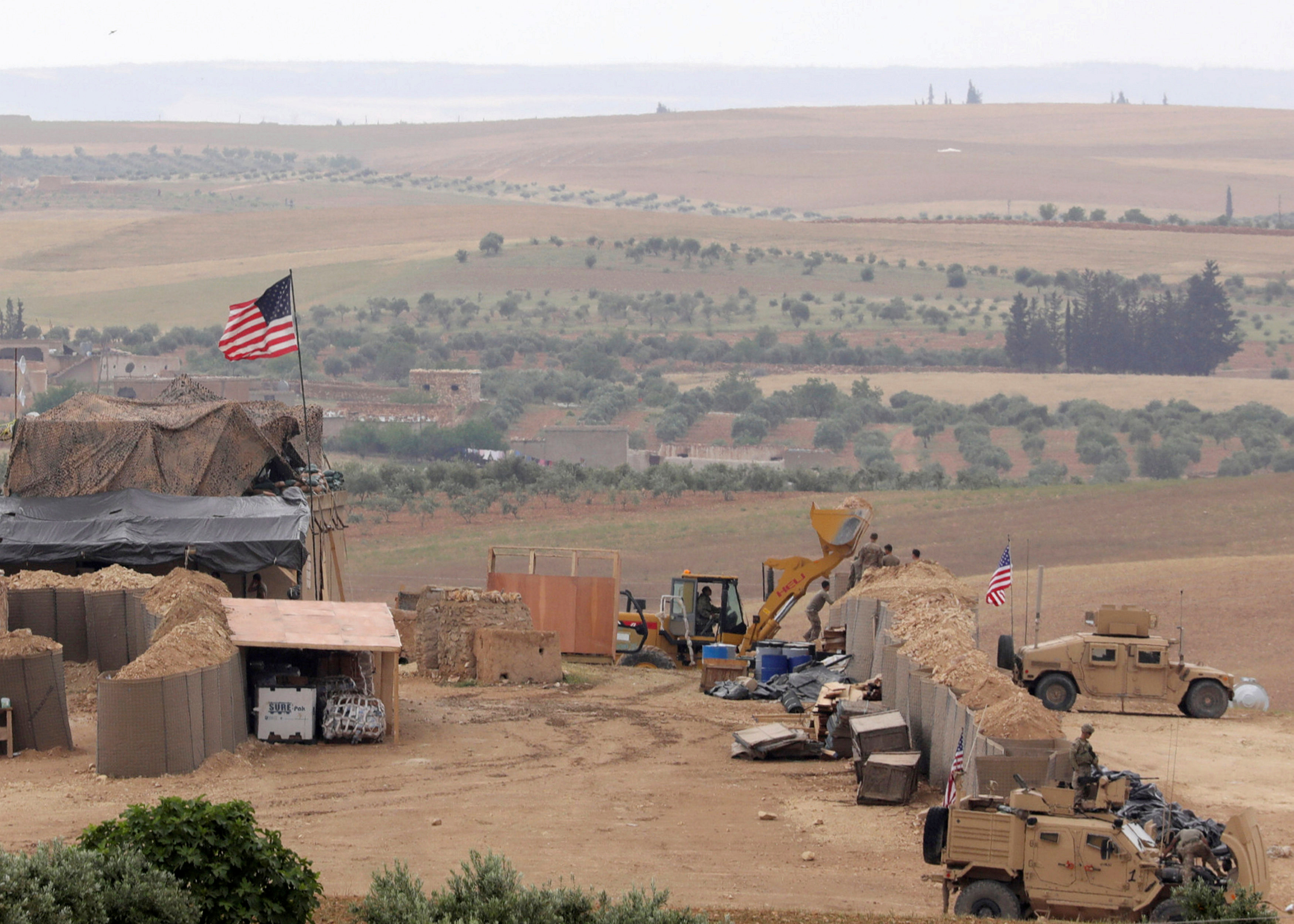 A US base in Manbij in the northern countryside of Aleppo - May 2018 (Reuters)