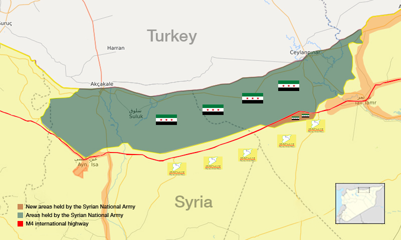 Field map showing military control in the rural areas of al-Hasakah and Raqqa, north-east Syria - 18 November 2019 (edited by Enab Baladi)