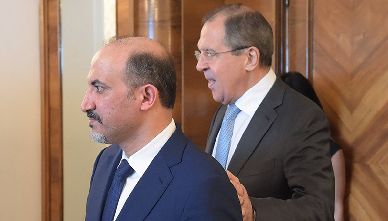 The head of the Syria's Tomorrow Movement, Ahmed al-Jarba, visiting the Russian Foreign Minister Sergei Lavrov in Moscow - 25 September 2020 (TVC channel)