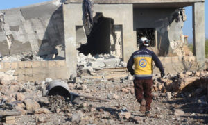 A member of the Syrian Civil Defence is checking a house bombed by the Syrian regime- 7 November 2020 (Syria's Civil Defence / Facebook)