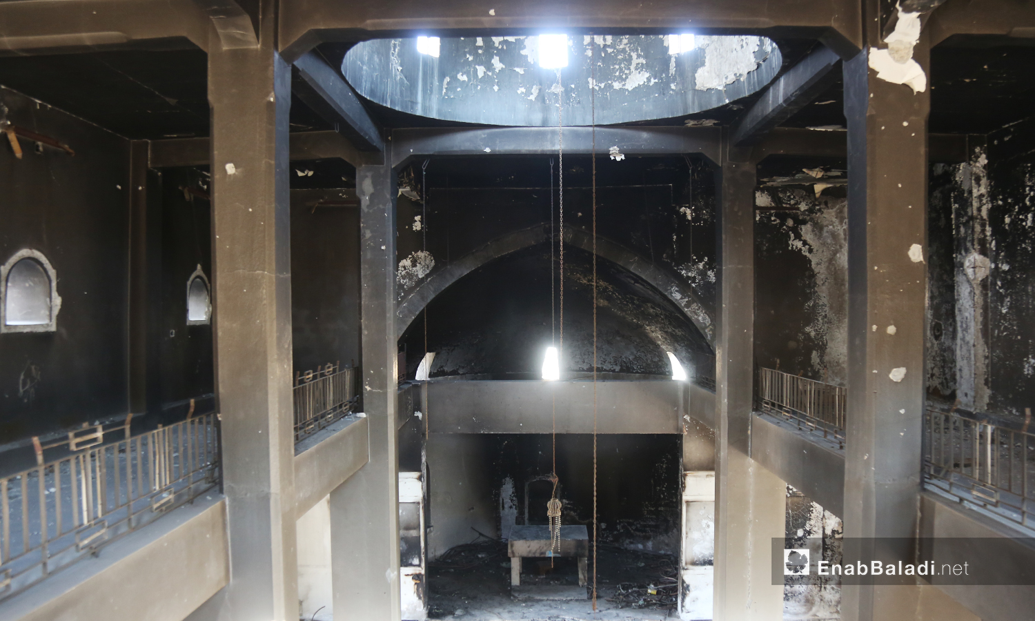 "The interior hall of ""Mar Georges"" Church was burned as a result of bombardment and is still not restored yet – July 2020 (Enab Baladi)"