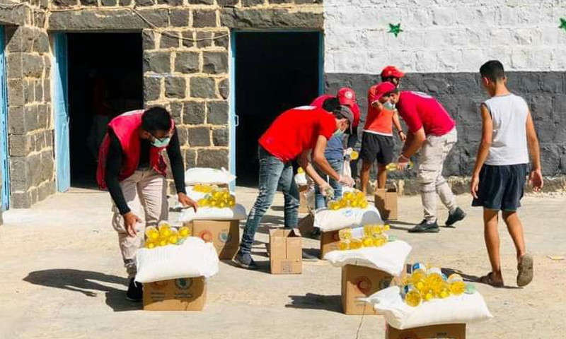 The distribution of food aids in Daraa - 2020 the (Syrian Arab Red Crescent (SARC)