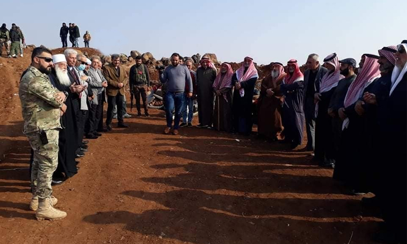 "Dignitaries from Daraa and As-Suwayda with elements from the ""Eighth Brigade"" during its withdrawal of military posts from al-Qarya town - 09 November 2020 (Suwayda 24)"